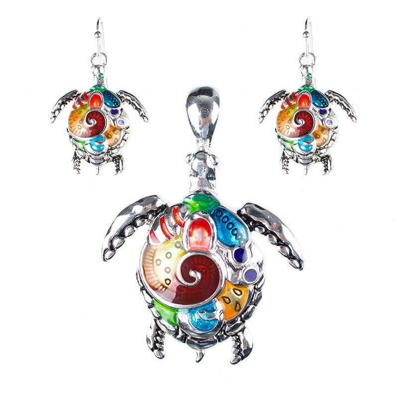 Silver Plated Sea Turtle Set - WikiWii
