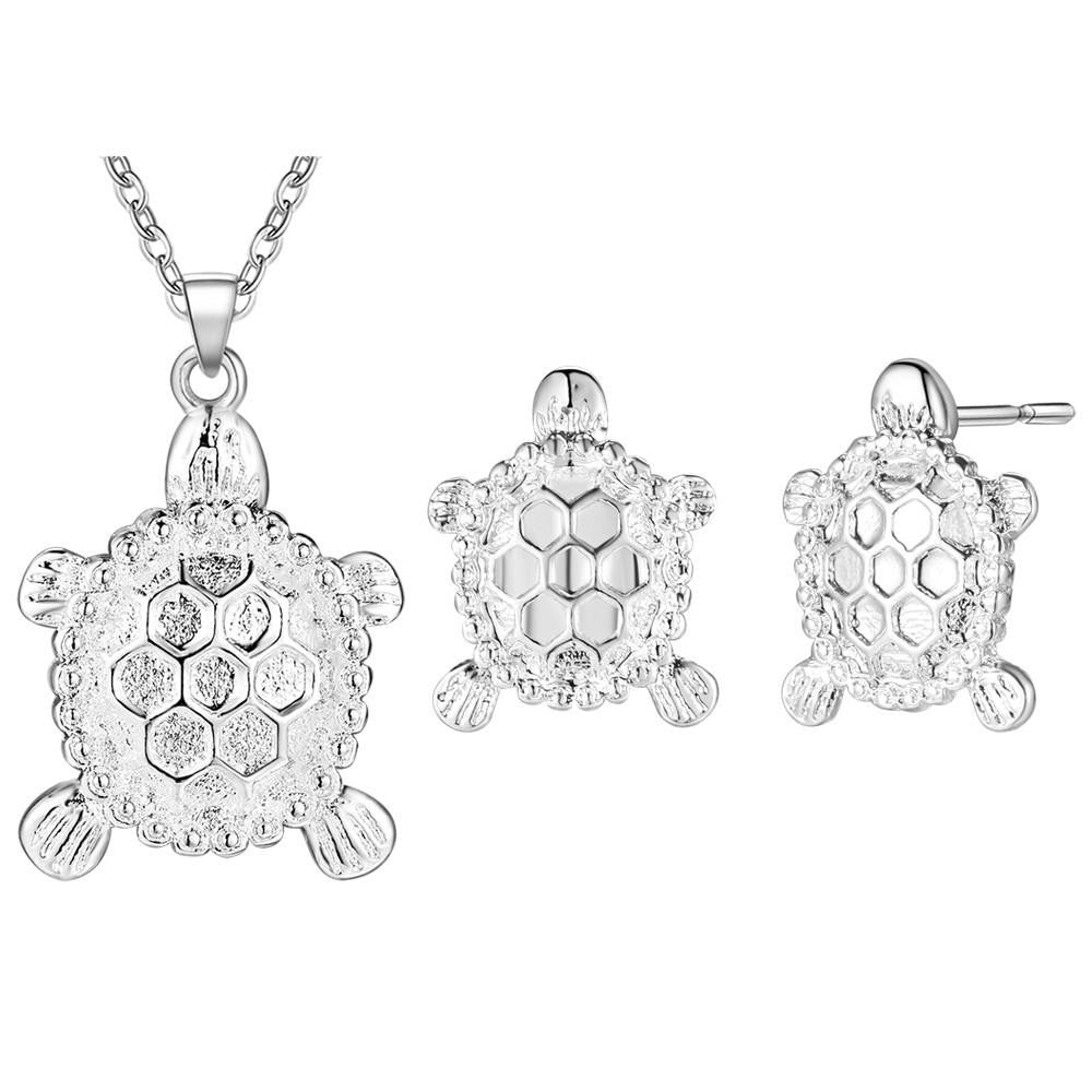 Silver Plated Sea Turtle Sets Necklace Earring - WikiWii