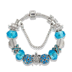 silver plated Sea Turtles beads Blue crystal Charm bracelet - WikiWii