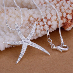 silver Plated starfish necklace - WikiWii