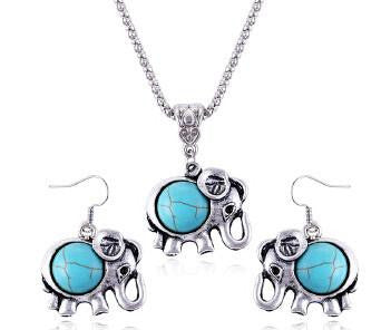 Silver Turquoise Long Rhinestone Elephant Necklace & Earning - WikiWii