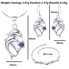 Silver Two Dolphins Women Necklaces Earrings Bracelets Sets Trendy Rhinestone Jewelry - WikiWii