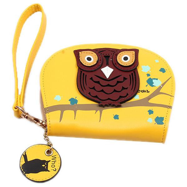 small cute owl wallets hit color printing korean rounded zipper