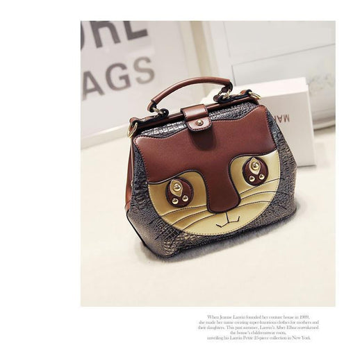Spell Color Stitching Cat Face Women Messenger Bags - WikiWii