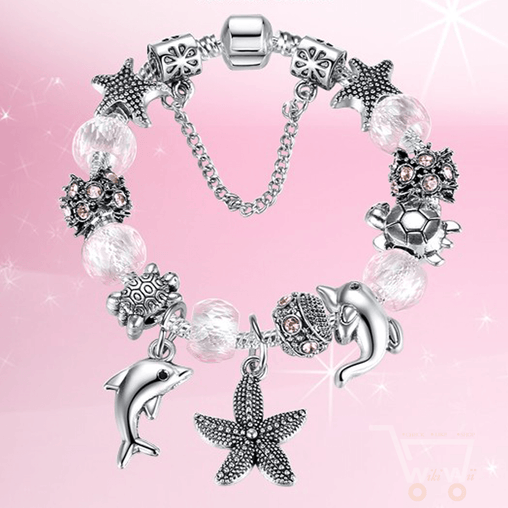 925 Silver Plated Pink Sea Turtle Dolphin Starfish Charm Bracelet - WikiWii
