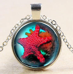 Starfish Glass Necklace Silver Plated - WikiWii