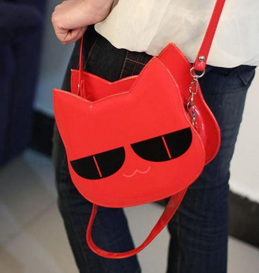 three-dimensional shaping leather small cat handbag - WikiWii