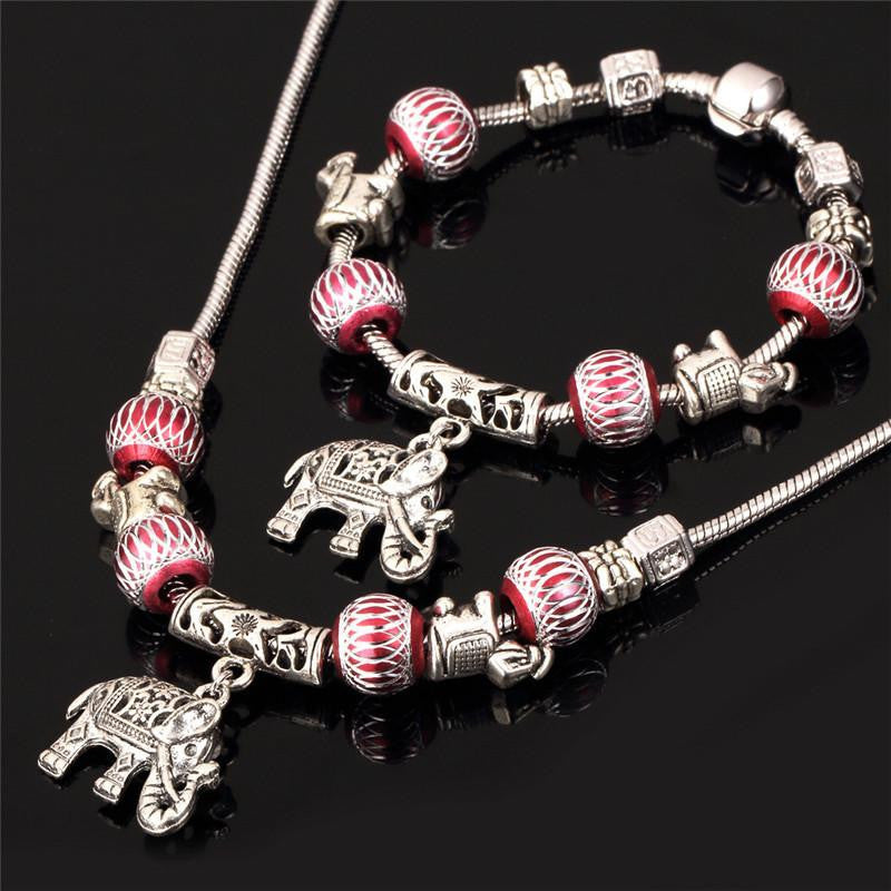 Tibetan Silver Plated Crystal Beads Bracelet Necklace set - WikiWii