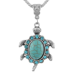Turquoise Rhinestone Turtle Shaped Pendant Necklaces - WikiWii