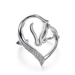 Two Horse Heart Opening Ring - WikiWii