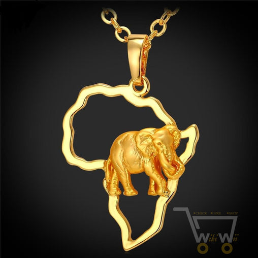 18k Gold Plated  African Map Elephant Necklace - WikiWii