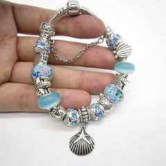 Vintage Sea Turtle Shell Starfish Glass Beads Bracelet - WikiWii