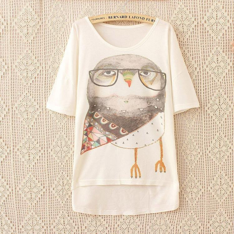 Wearing Glasses Owl Women T Shirt Short Sleeve ( one size ) - WikiWii