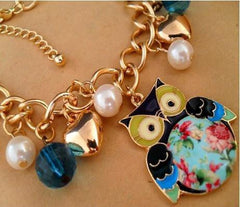 White Pearl And Printed Owl Pendant Bracelets - WikiWii