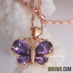 White / Purple Crystal  Butterfly Necklace - WikiWii