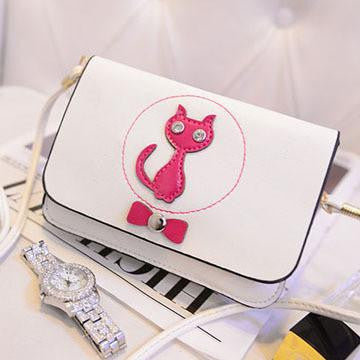 Women Bags Cute Cat Bow Cross Body Shoulder Bag - WikiWii