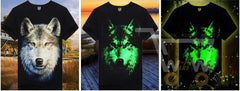 3D Glow in the Dark Wolf Printed T-Shirt - WikiWii