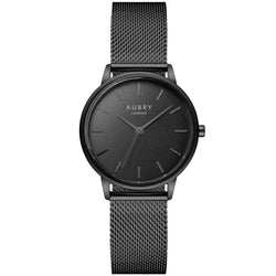 Aubry vegan watch - petite black mesh 33mm