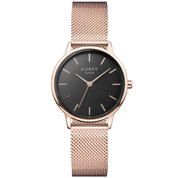 Aubry vegan watch - petite rose mesh black dial 33mm