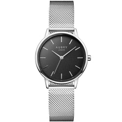 Aubry vegan watch - petite silver mesh black dial 33mm