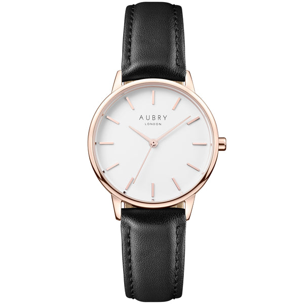Aubry vegan watch - petite vegan black leather 33mm rose white