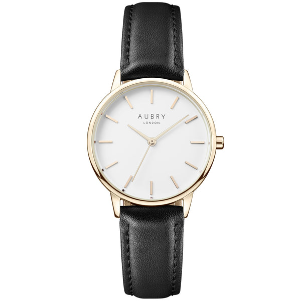 Aubry vegan watch - petite vegan black leather 33mm gold white