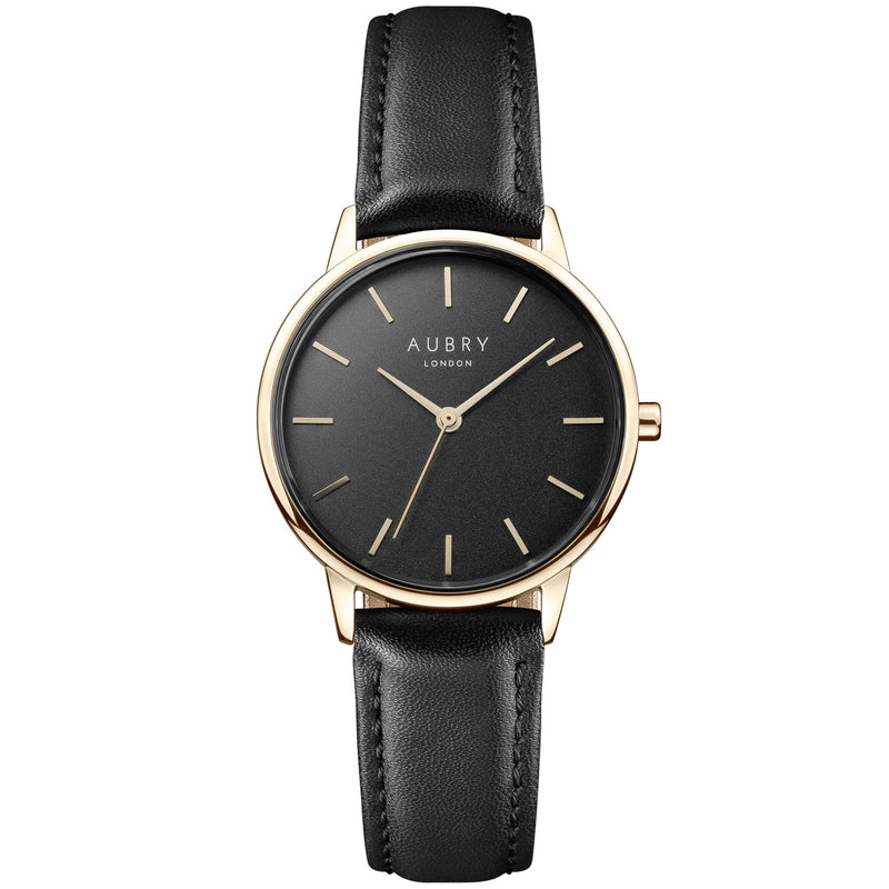 Aubry vegan watch - petite vegan black leather 33mm gold black