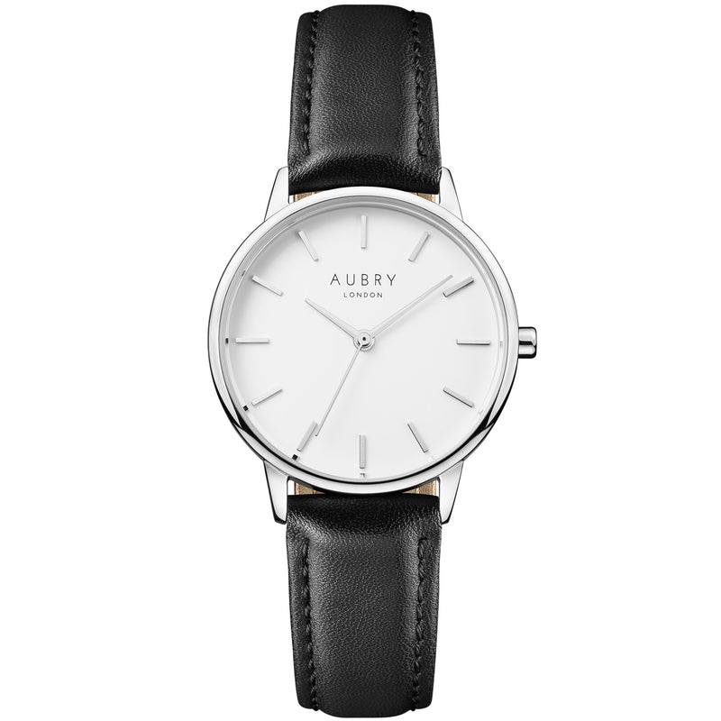 Aubry vegan watch - petite vegan black leather 33mm silver white