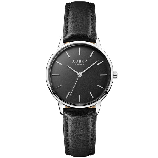 Aubry vegan watch - petite vegan black leather 33mm silver black