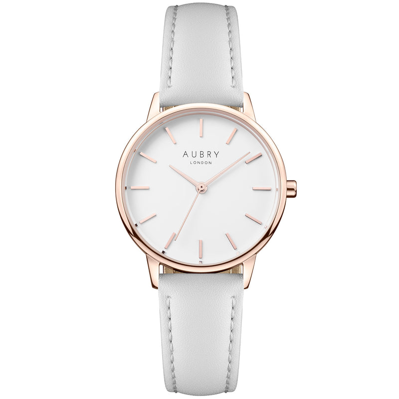 Aubry vegan watch - petite vegan grey leather 33mm rose white