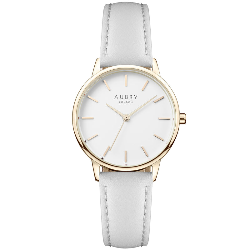 Aubry vegan watch - petite vegan grey leather 33mm gold white