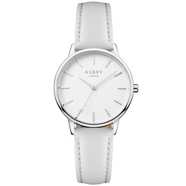 Aubry vegan watch - petite vegan grey leather 33mm silver white