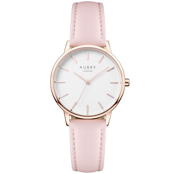 Aubry vegan watch - petite vegan pink leather 33mm rose white