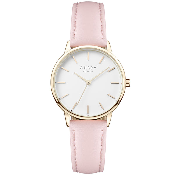 Aubry vegan watch - petite vegan pink leather 33mm gold white