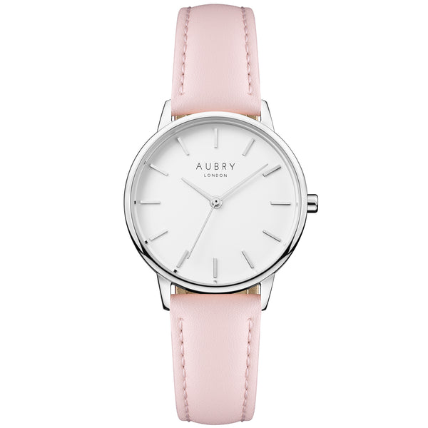 Aubry vegan watch - petite vegan pink leather 33mm silver white