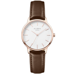 Aubry vegan watch - petite vegan brown leather 33mm rose white