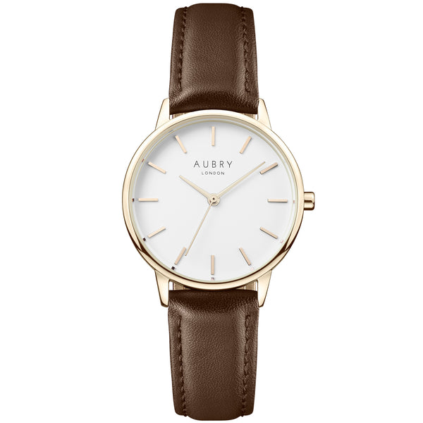 Aubry vegan watch - petite vegan brown leather 33mm gold white