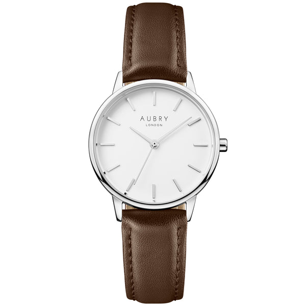 Aubry vegan watch - petite vegan brown leather 33mm silver white