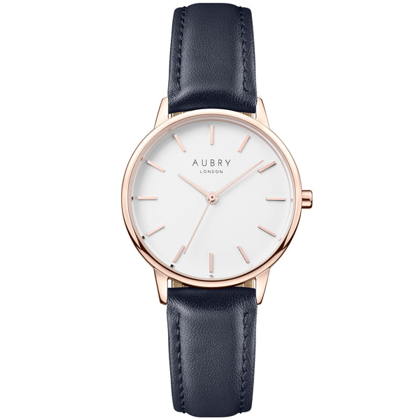 Aubry vegan watch - petite vegan blue leather 33mm gold white