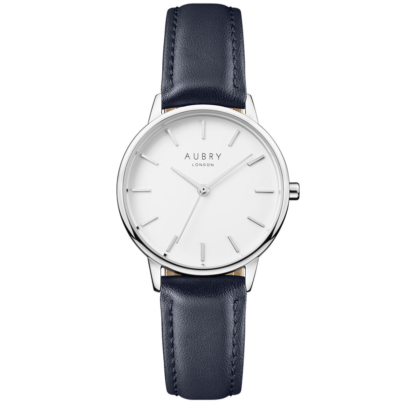 Aubry vegan watch - petite vegan blue leather 33mm silver white