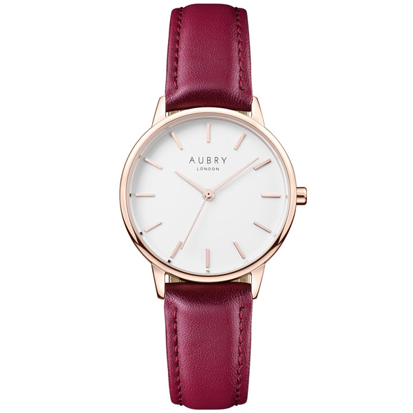 Aubry vegan watch - petite vegan red leather 33mm rose white