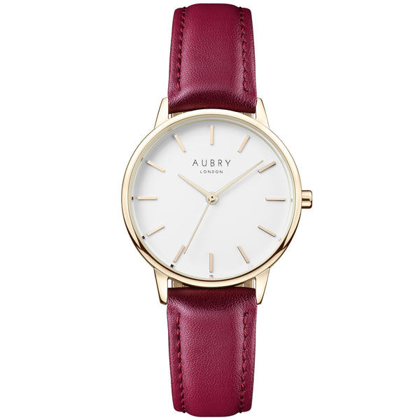 Aubry vegan watch - petite vegan red leather 33mm gold white