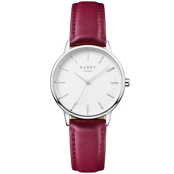 Aubry vegan watch - petite vegan red leather 33mm silver white