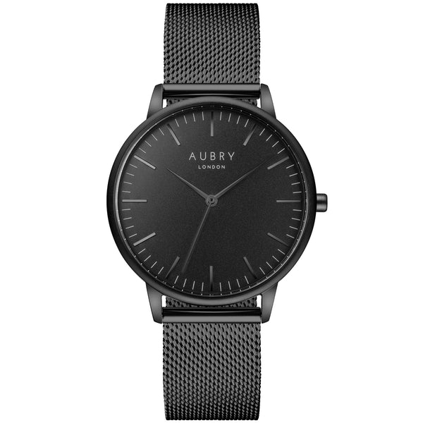 Aubry vegan watch - classic black mesh 38mm