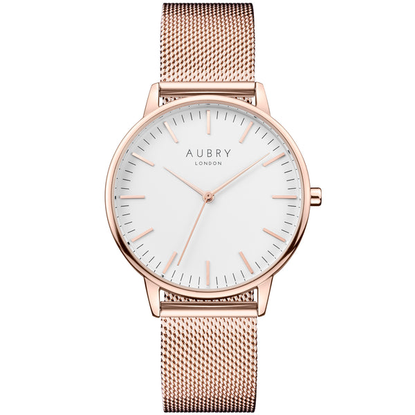 Aubry vegan watch - classic rose gold mesh 38mm