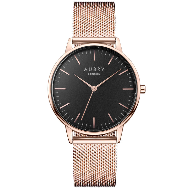 Aubry vegan watch - classic rose gold & black mesh 38mm