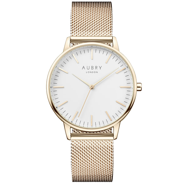 Aubry vegan watch classic gold mesh 38mm