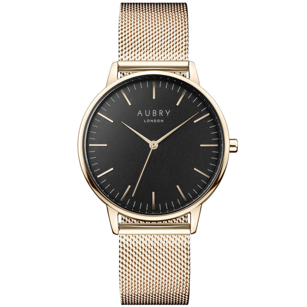 Aubry vegan watch - classic gold & black mesh 38mm