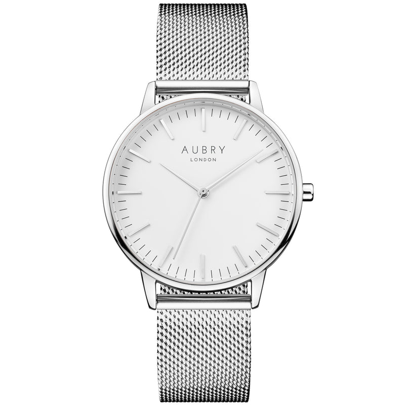 Aubry vegan watch - classic silver mesh 38mm