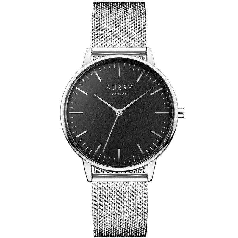Aubry vegan watch - classic silver & black mesh 38mm